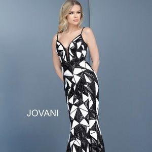 Jovani Black/White Bedazzled V-Neck Trumpet Dress